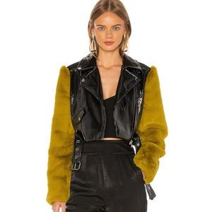 Camila Coelho Florencio Moto Leather + Fur Jacket
